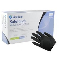Нитриловые черные перчатки SafeTouch без пудры.