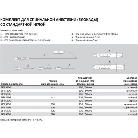 Набор для спинальной анестезии (Блокады) со стандартной иглой Standart