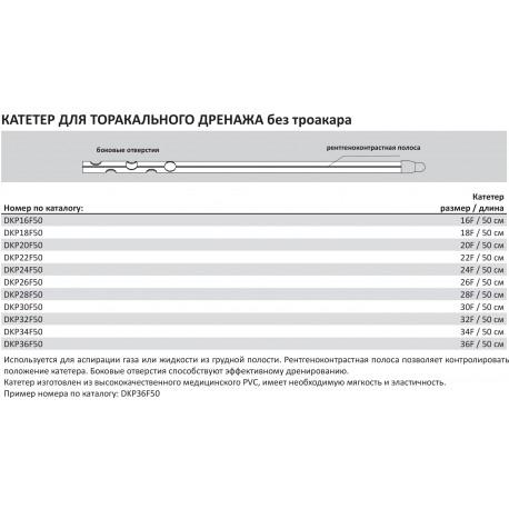 Катетер для торакарного дренажа (без троакара)